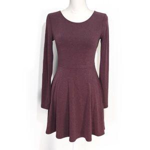 Mauve Purple Fit Flare Skater Dress Long Sleeved
